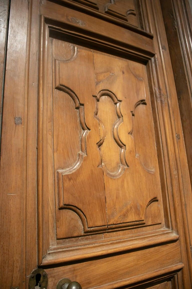 18th Century Spanish Hand Carved Paneled Wooden Door 2