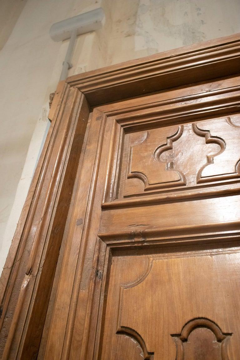 18th Century Spanish Hand Carved Paneled Wooden Door 4