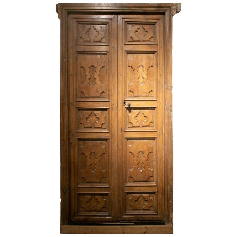 18th Century Spanish Hand Carved Paneled Wooden Door