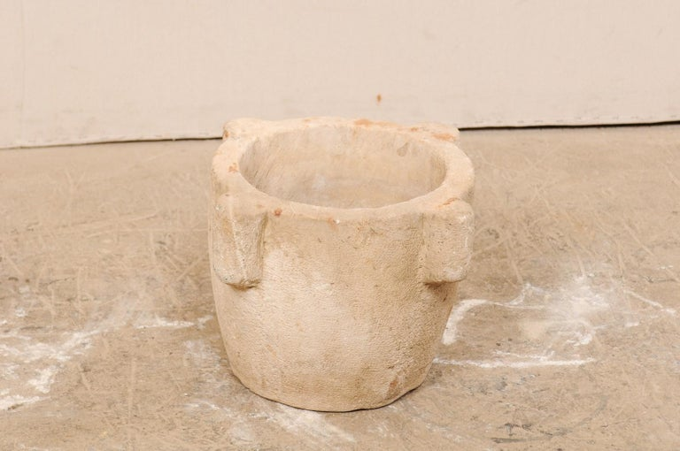 18th Century Spanish Hand Carved Stone Mortar In Good Condition For Sale In Atlanta, GA