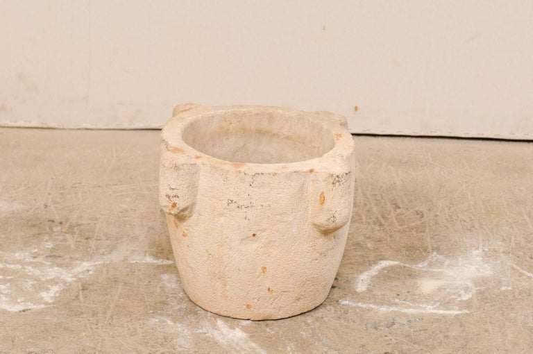 18th Century Spanish Hand Carved Stone Mortar For Sale 1
