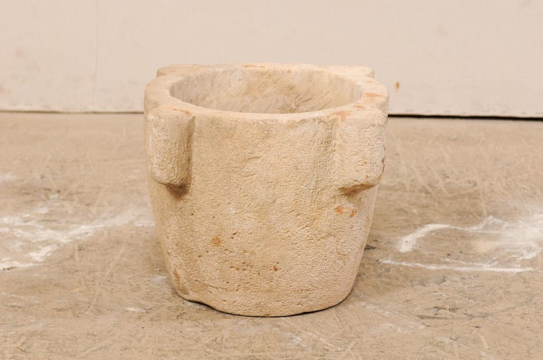 18th Century Spanish Hand Carved Stone Mortar For Sale 3