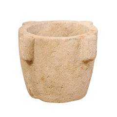 18th Century Spanish Hand Carved Stone Mortar