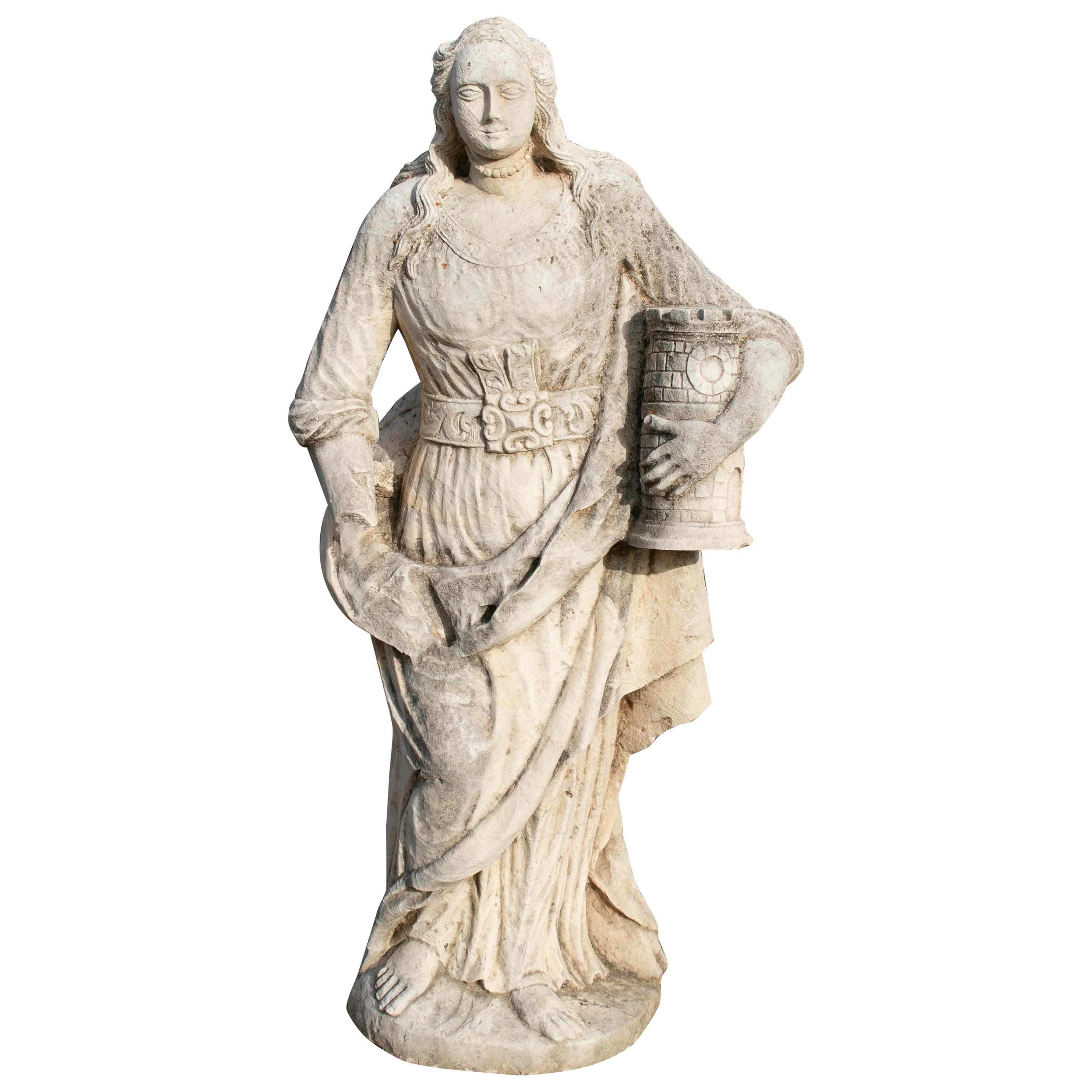 18th Century Spanish Hand Carved Stone Sculpture of St. Catherine of Palma