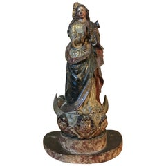 18th Century Spanish Hand-Carved Wood Polychrome Virgin with Its Glass Dome