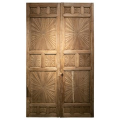 18th Century Spanish Hand Carved Wooden Panelled Double Door