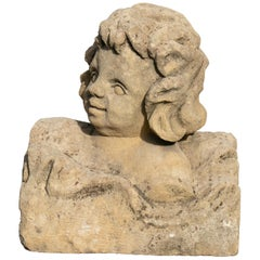 18th Century Spanish Hand Caved Stone Boy Bust