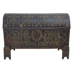 18th Century Spanish Leather Trunk with Decorative Nailhead Detailing