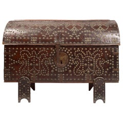 18th Century Spanish Leather Trunk with Studded Nailhead Detail