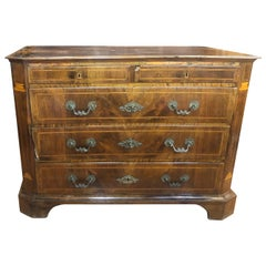 18th Century Spanish Louis XVI Walnut Chest of Drawers Inlay, 1780s