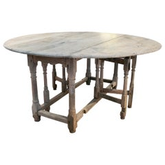 18th Century Spanish Oak Round Folding Table
