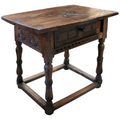 18th Century Spanish One-Drawer Walnut Table