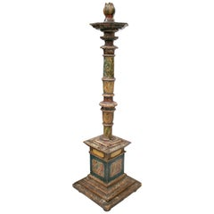 18th Century Spanish Painted Wood Pricket Stick