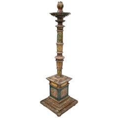 18th Century Spanish Painted Wood Pricket Stick