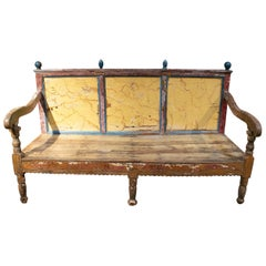 18th Century Spanish Painted Wooden Bench Furniture