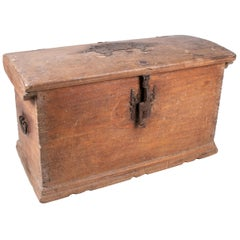 18th Century Spanish Pine Wood Rustic Trunk with Wrought Iron Fittings