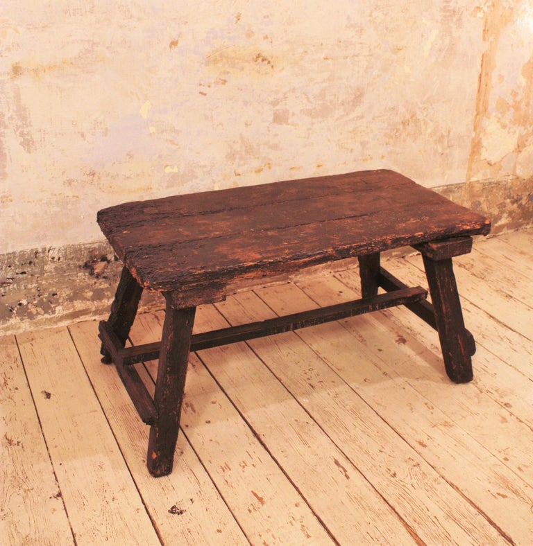 Wood 18th Century Spanish Primitive Rustic Bistrot Table/Side Table For Sale