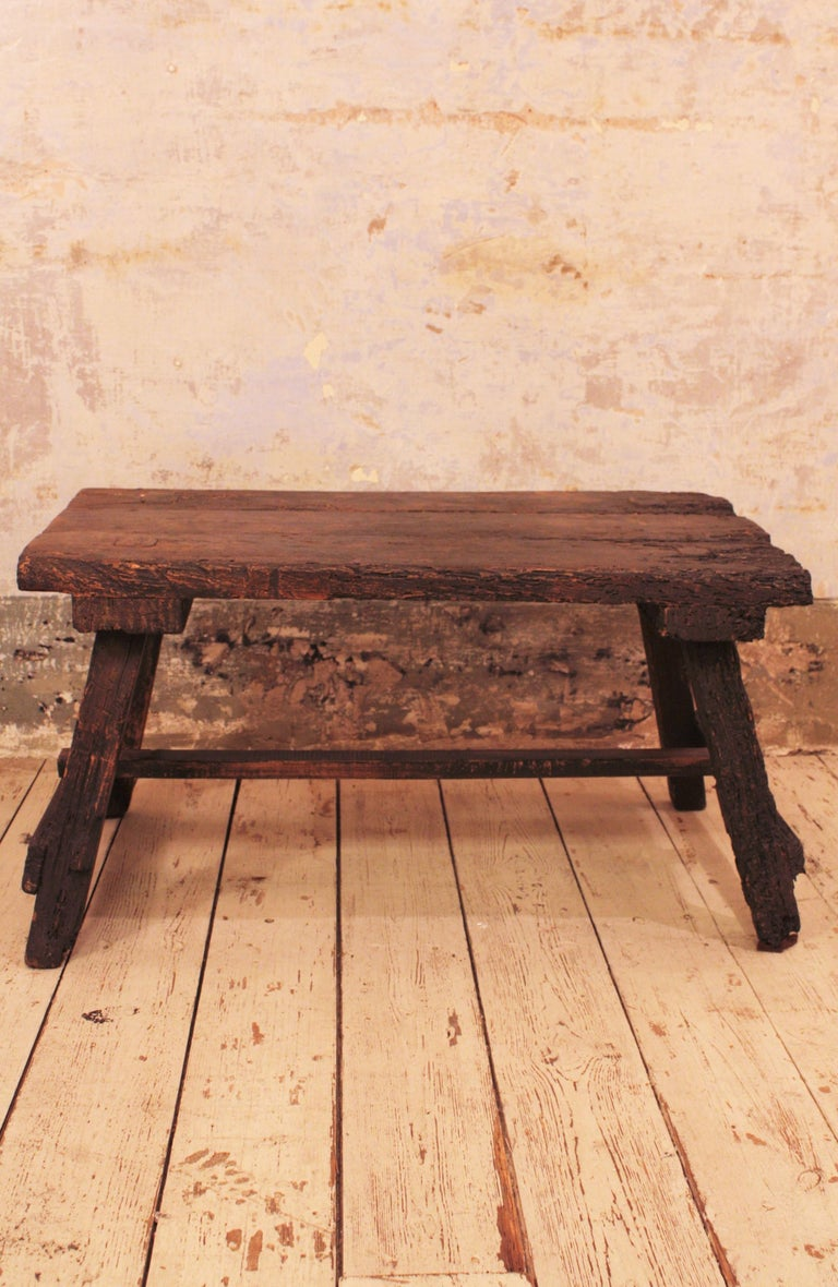18th Century Spanish Primitive Rustic Bistrot Table/Side Table For Sale 3