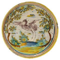 "18th Century Spanish ""Puente del Arzobispo"" Madrid Hand Painted Earthenware Dish"