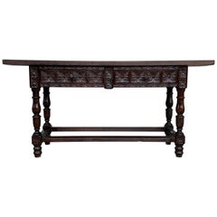 18th Century Spanish Refectory Table or Farm Table with Drawers