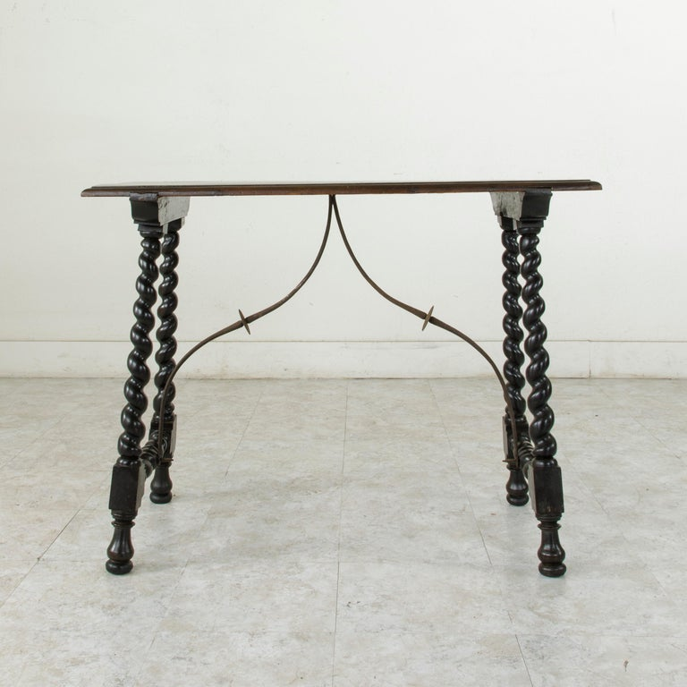 18th Century Spanish Renaissance Style Walnut Console Table with Iron Stretcher In Good Condition For Sale In Fayetteville, AR