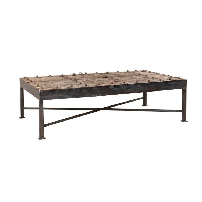 Wondrous 18Th Century Spanish Rustic Wood Door Custom Coffee Table With Nice Metal Base Machost Co Dining Chair Design Ideas Machostcouk