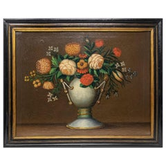 18th Century Spanish School Still Life Flower Oil on Canvas Painting