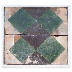 18th Century Spanish Set of 2 Hand Painted Ceramic Terracotta Tiles