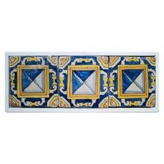 18th Century Spanish Set of 3 Framed Glazed Ceramic Tiles