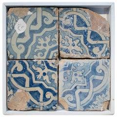 18th Century Spanish Set of 4 Framed Cobalt Blue Glazed Ceramic Tiles