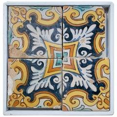 18th Century Spanish Set of 4 Framed Ornamental Glazed Ceramic Tiles