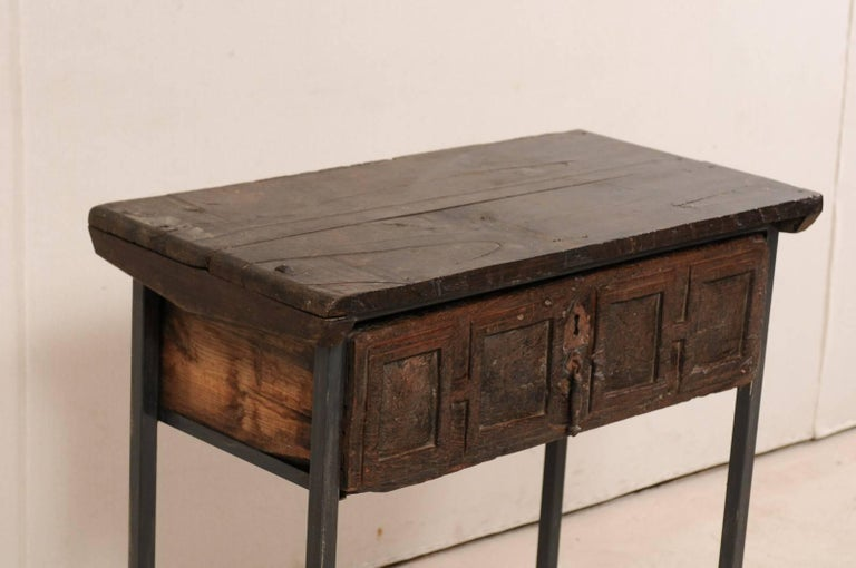 18th Century Spanish Single Drawer Chest of Rustic Carved Walnut Wood and Iron In Good Condition For Sale In Atlanta, GA