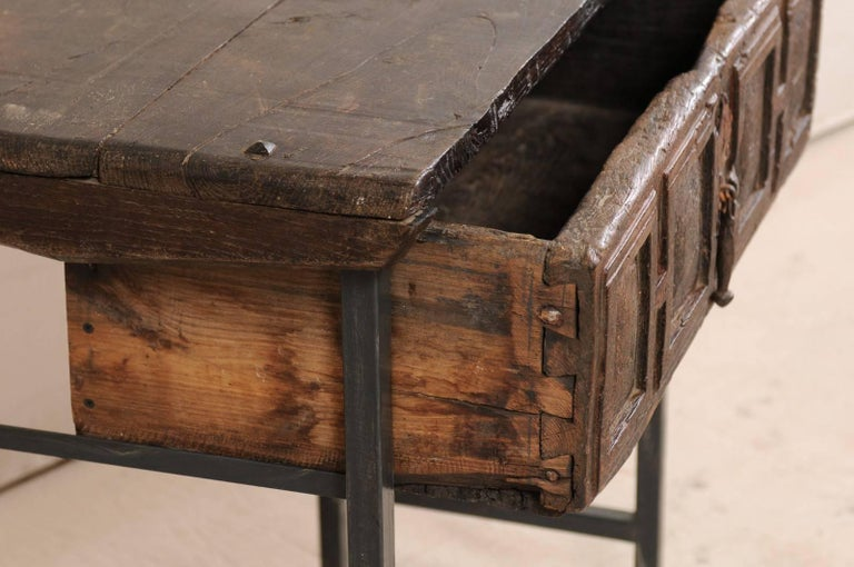 18th Century Spanish Single Drawer Chest of Rustic Carved Walnut Wood and Iron For Sale 3