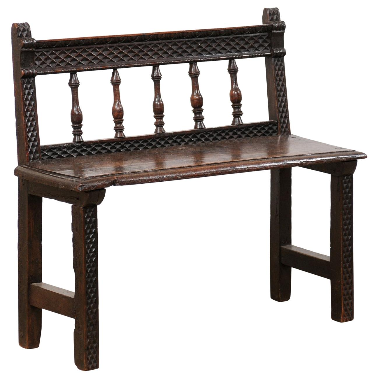 18th Century Spanish Spindle Back Carved Wood Bench, Cute