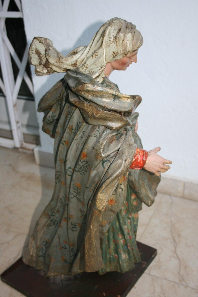 18th Century Spanish St Joachim & Anne with Child Virgin Mary Wooden Sculptures For Sale 15