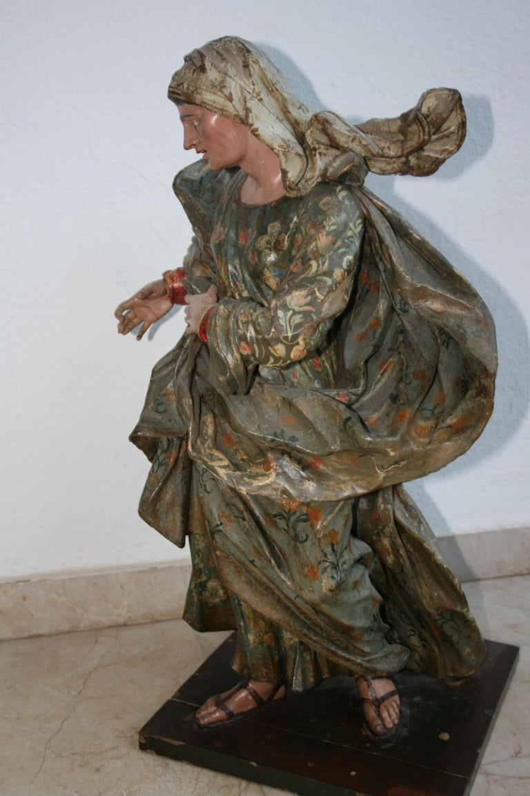 18th Century and Earlier 18th Century Spanish St Joachim & Anne with Child Virgin Mary Wooden Sculptures For Sale