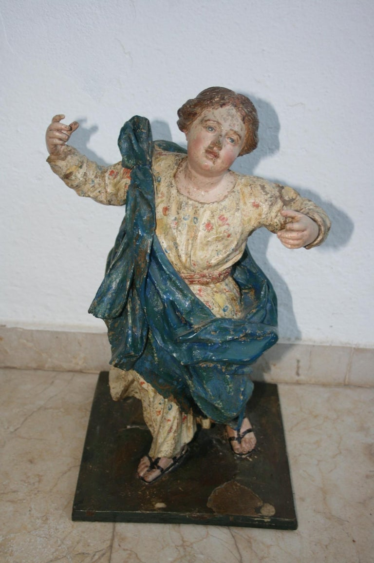 18th Century Spanish St Joachim & Anne with Child Virgin Mary Wooden Sculptures For Sale 1