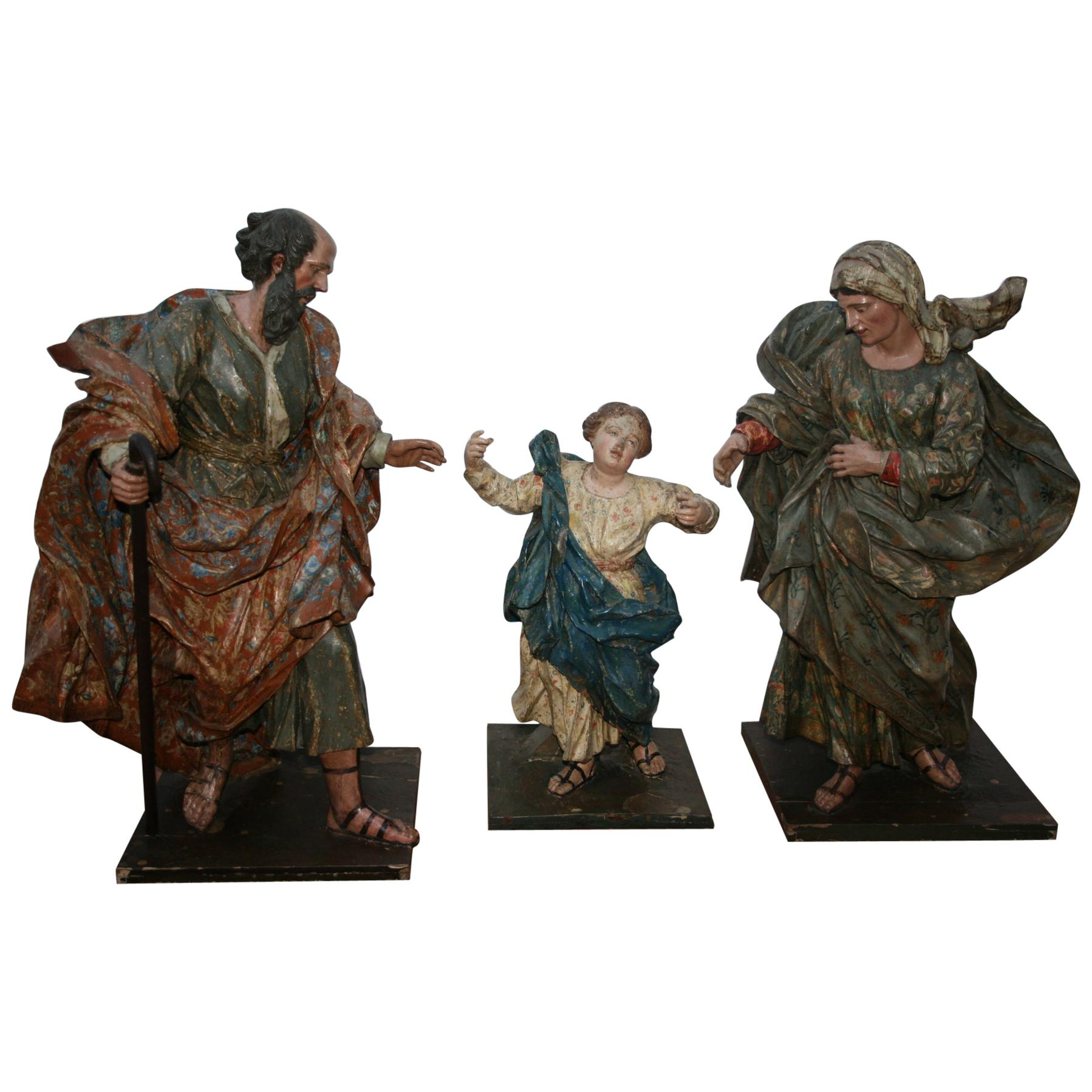 18th Century Spanish St Joachim & Anne with Child Virgin Mary Wooden Sculptures