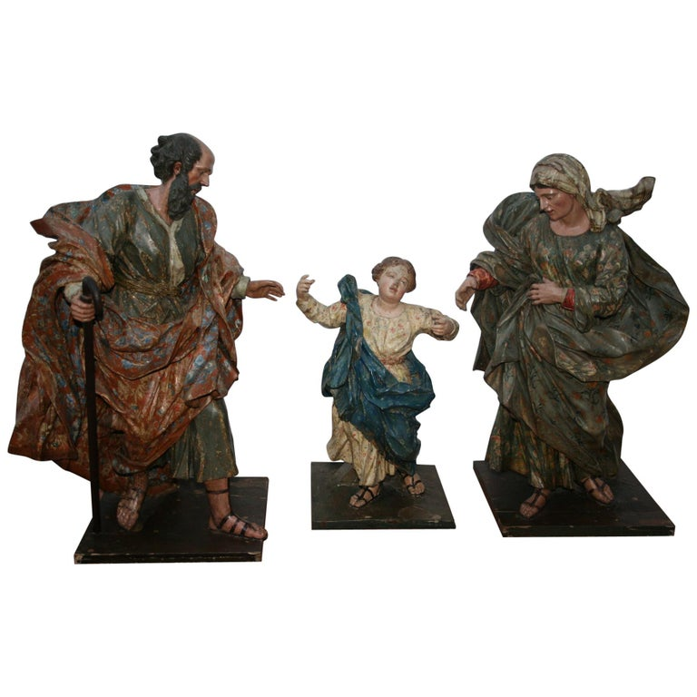 18th Century Spanish St Joachim & Anne with Child Virgin Mary Wooden Sculptures For Sale