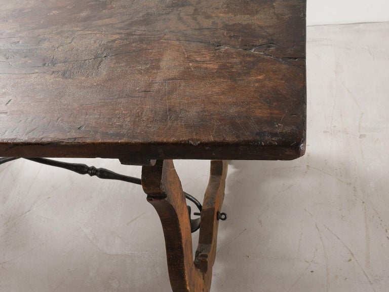18th Century Spanish Table with Iron Supports For Sale 5