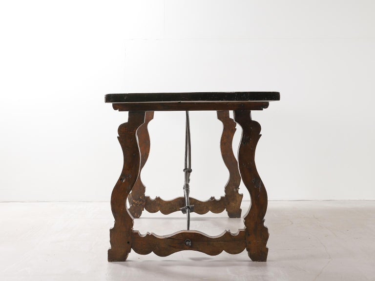 18th Century and Earlier 18th Century Spanish Table with Iron Supports For Sale