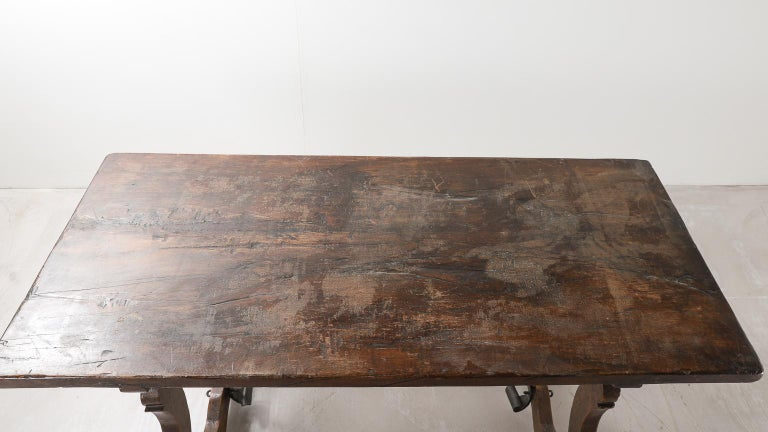 18th Century Spanish Table with Iron Supports For Sale 4