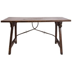 18th Century Spanish Trestle Style Writing Table, Rich Wood Grain, Iron Hardware