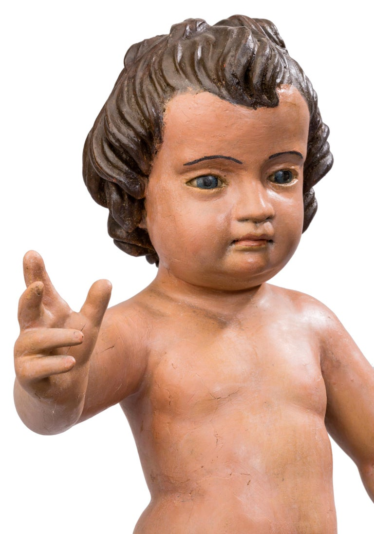 18th Century and Earlier 18th Century Spanish Triumphant Infant Jesus Polychrome Sculpture For Sale