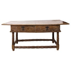 18th Century Spanish Two-Drawer Walnut Table