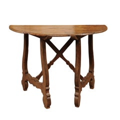 18th Century Spanish Walnut Demilune Table with Lyre Legs