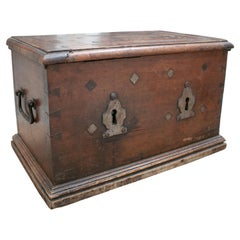 18th Century Spanish Walnut Strongbox Safe with Two Locks and Iron Fittings