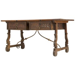 18th Century Spanish Walnut Trestle Table and Iron Stretcher
