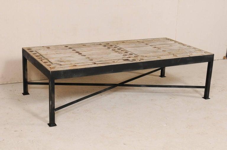 18th Century Spanish Wood Door Made Rustic Coffee Table With Custom Metal Legs
