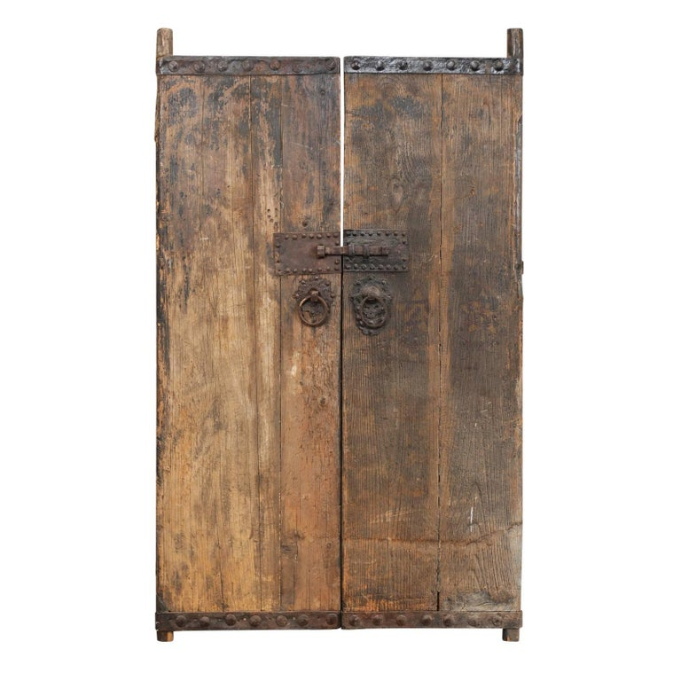 18th Century Spanish Wood Doors with Original Iron Accents and Hardware